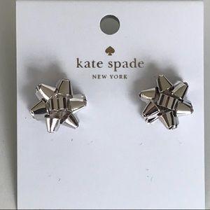 Nwt Kate Spade Silver Tone Borgeois Bow Earrings